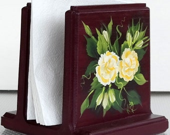 Maroon Napkin Holder with Yellow Roses , Handcrafted and Hand Painted