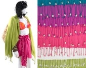 Colorful Scarf Cowry Seashell Sarong Wrap Beach Cover Up Shawl In Your Color Choice
