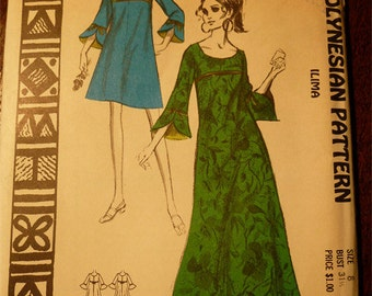Ladies Pattern NOS Vintage Hawaii 1960s Polynesian Pattern No. 201 Size 8 ILIMA Long & Short Baby Doll  Dress with Long Sleeves Uncut