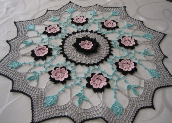 Crochet doily ,floral,  wild flower doily, intricate, pink, green, black, grey, made by Demet, fresh, ready to mail