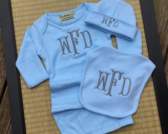 3 piece monogrammed baby gown gift set.  Baby Boy or Baby Girl. White, Pink or Blue.