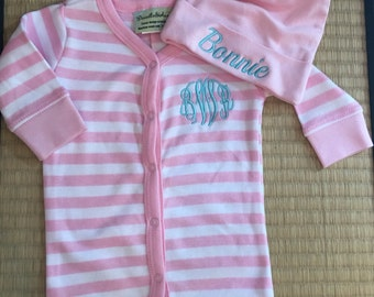 2 piece striped monogrammed baby girl gift set. Baby Girl Gift Set. 0-6 month size.