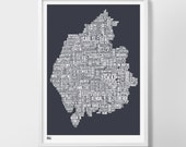 Cumbria Type Map, Lake District Type Map, Cumbria Word Map, Type Wall Art, Lake District Wall Art, Cumbria Map