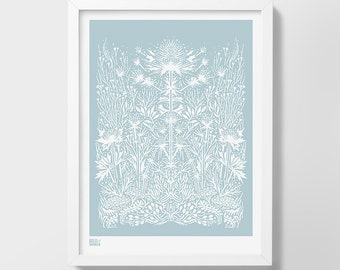 Sea Holly Screen Print, Plant Art Print, Nature Wall Art, Flower Screen Print, Sea Holly Wall Art