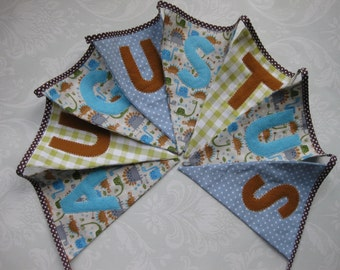 DINOSAUR BLUE Bunting Banner lovely for a Boy's Room, Party, Celebration or Photo prop can be Personalized Custom Made