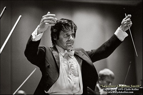 LAWRENCE LEIGHTON SMITH, The Conductor, Clyde Keller Photo, Oregon Symphony, 16x20 inch Fine Art Print, Black and White, Signed, circa 1975
