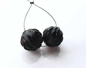 Carved Black Spinel Beads Orbs - 12mm Pair