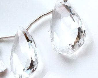 Clear Crystal Quartz Marquis Cut Briolette Pair
