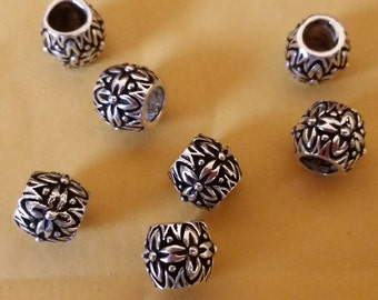 European Style Sterling Silver Oxidized 10mm Heavy Flower Bead, Sterling Silver Beads, Jewelry Supplies