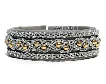 SwedArt B181 Kulta Swedish Sami Leather Bracelet with 14K Gold-Filled Beads and Pewter/Silver Braids Light Grey XX-SMALL