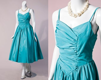 50s By 80s Teal Ruched Bodice Sweetheart Dress | Small