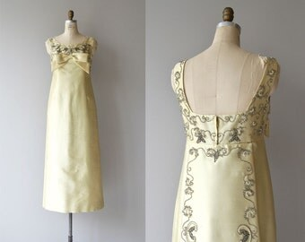 La Reina gown | vintage 1960s beaded dress | silk beaded 60s gown