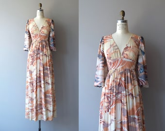 Dream Landscape dress | vintage 1970s dress | floral printed 70s maxi dress