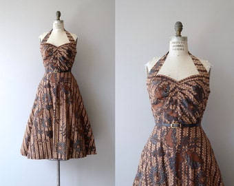 Batik halter dress | vintage 1950s dress | cotton batik 50s halter dress