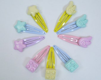 Fairy kei hair clip set - Decora pastel accessories - Stars, Wings, and Toy 'lego' bricks