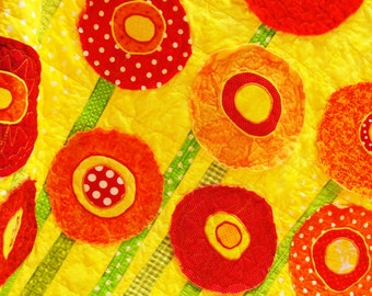 "Poppy baby quilt -poppy baby/ wall art quilt ""Poppies Full of Sunshine'' poppies in bright reds and oranges on yellow READY TO SHIP"