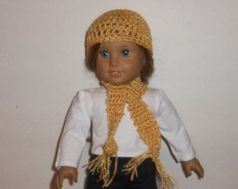 Sparkling Gold, Hat Scarf, 18 Inch Doll, Crochet Cap, Doll Accessories, American Made, Girl Doll Clothes