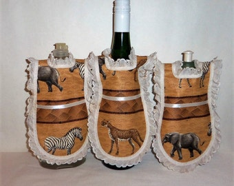 Dish Soap Apron Wine Bottle Cover Eyelet Lace Kitchen Decor Safari Animals