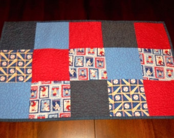 Baseball, Quilted Table Runner, Americana Patriotic, Sale Priced, Table Decor, 16x26 inches, Machine Quilted, Table Topper