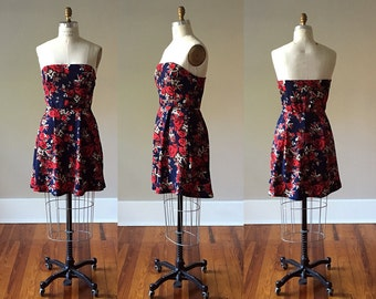 Strapless Rose Dress with Deep Red Roses and Pleated A Line Skirt in Navy Blue / Midnight Blue / Ready to Ship / Blue Dress / LIMITED QTY!