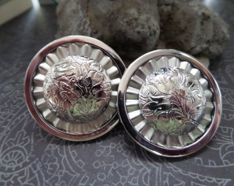 EMMONS signed  Round Vintage Clipback  Earrings - Silvertone