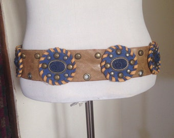 Tribal fusion, tribal, festival, medallion, distressed leather  belt
