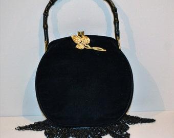 Vintage 1950's Black Velvet Purse Bonwit Teller