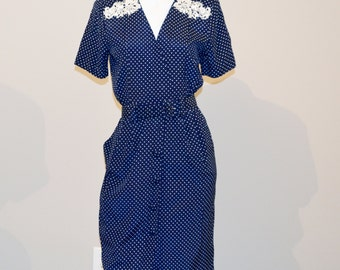 Vintage Dress Polka Dots and Soutache with Pockets