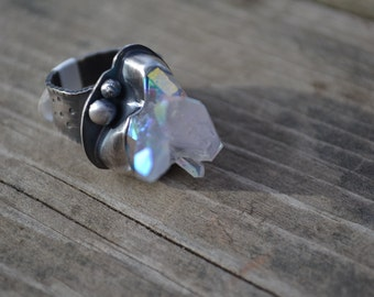Opal Aura Crystal Ring Sterling Silver Chunky, Cocktail Ring Ready to Ship Size 8