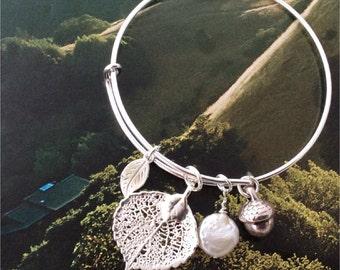 Colorado Aspen Leaf Bangle Bar Bracelet, original design, , freshwater pearl, acorn charm, personalized leaf initial charm
