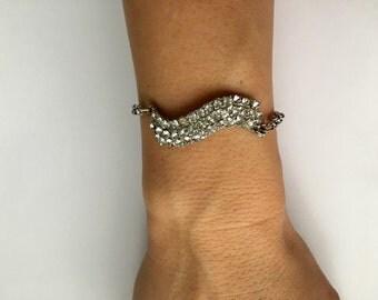 Age of Aquarius Rhinestone Linked Bracelet- Heirloom Collection