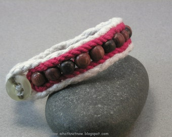 red beaded cuff bracelet cotton bracelet one button cuff small rope and bead bracelet 3799