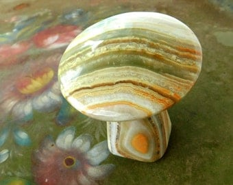 Vintage Banded Agate Mushroom Stone Sculpture / Figurine OOAK 1980's era , Collectible Art Natural Stone Toadstool , Fungi Collectible