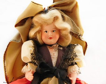 Vintage Poupees Rosey Alsac French Doll , Celluloid Costumed Travel Doll , Fantastic Blonde Mohair 9 Inch Beautiful