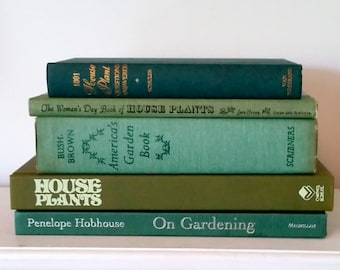 Vintage Garden Book Collection in Shades of Green, set of 5