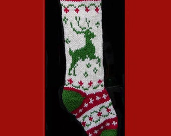 Hand knit Christmas stocking,  Personalized, made of pure wool yarn,  fully lined -- reindeer, wreath and heart