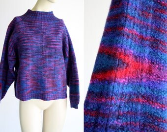 Hand Knit Wool Space dyed Blue Purple and Pink Shades Crop Sleeve and Crop Top Thick Retro Knit Sweater
