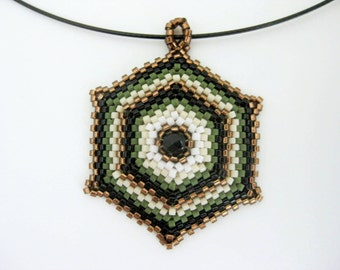 Peyote Pendant / Peyote Necklace /  Hexagon Pendant / Beaded Pendant / Seed Bead Pendant in Green, Brown, Cream and Black / Geometric
