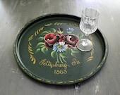 Vintage Souvenir Metal Tray Gettysburg PA Toleware Tray -Nashco   Souvenir Pennsylvania -Serving Tray-Barware Tray