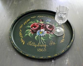 Vintage Souvenir Metal Tray Gettysburg PA Toleware Tray -Nashco  Kitchen Collectible Souvenir Pennsylvania -Serving Tray-Barware Tray