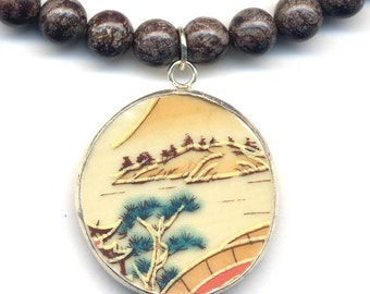 Recycled China, Brown Obsidian Necklace, Porcelain Pendant, Recycled broken china Jewelry, Pine Necklace,  Fall Color Necklace by AnnaArt72