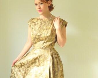 Golden Brocade 1950s Glamour Dress