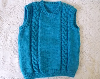 Knitted Baby Vest, Unisex Baby Vest, 12/18 Months Vest, Baby Shower Gift, Christmas Baby Gift, Sweater Unisex, Turquoise Sweater.