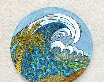 Palm Trees and Waves Glass Ornament & Suncatcher, Seashell Ornaments