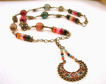 Antique Brass and Agate Gemstone Beads Necklace and Pendant