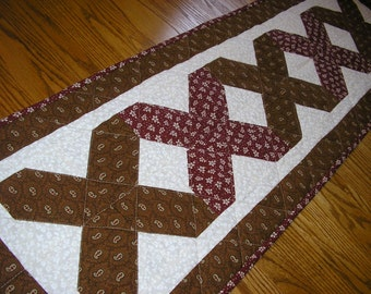 Quilted Table Runner, Brown and Dark Red Runner, 15 x 48 inches