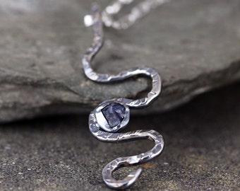Blue Sapphire Necklace - Rough Sapphire Pendant - Modern Jewelry - September Birthstone Jewellery - Uncut Raw Sapphire  Necklace