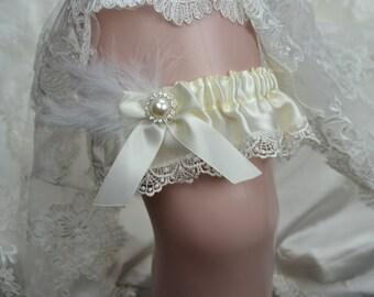 Wedding Keepsake Garter - Bridal Keepsake Garter- Ivory Satin Keep Garter