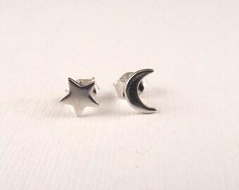 Moon and star earrings, tiny stud earrings, celestial jewelry