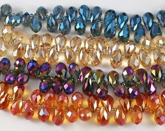 Faceted Teardrop Crystal Bead Mix - Set of 15 - #CB309